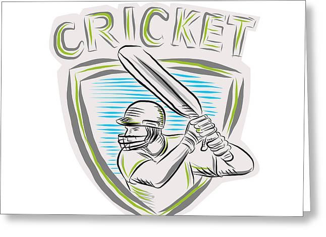 Batting Helmet Greeting Cards - Cricket Player Batsman Batting Shield Etching Greeting Card by Aloysius Patrimonio
