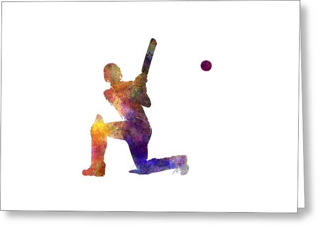 Cricket Player Batsman Silhouette 08 Greeting Card by Pablo Romero