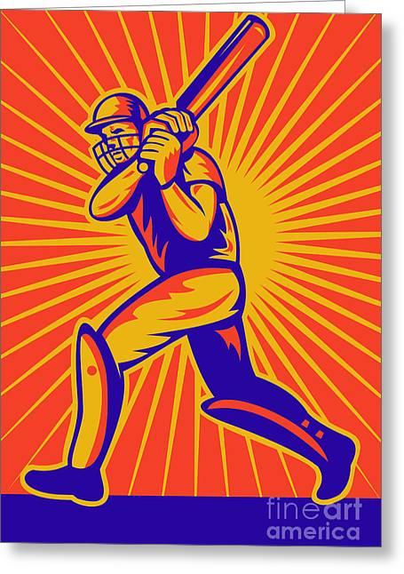 Cricket Bat Greeting Cards - Cricket Sports Batsman Batting Greeting Card by Aloysius Patrimonio