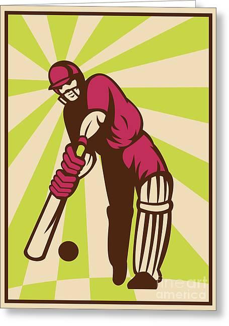 Cricket Bat Greeting Cards - Cricket Sports Batsman Batting Retro Greeting Card by Aloysius Patrimonio