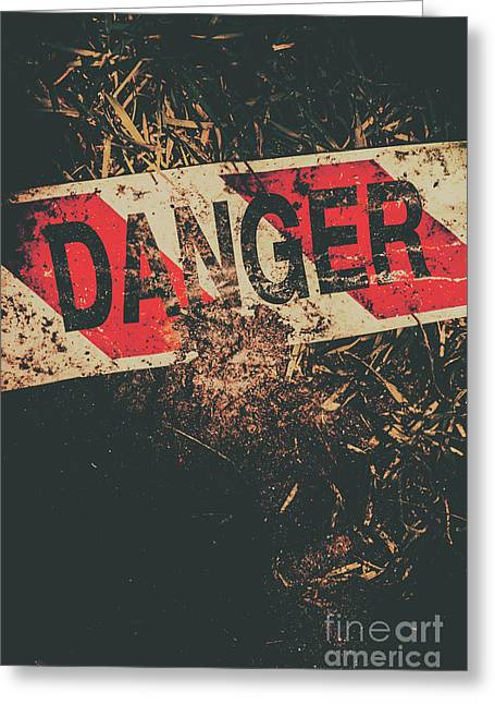 Crime Scene Danger Tape Greeting Card by Jorgo Photography - Wall Art Gallery