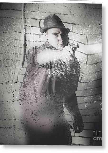Underworld Human Greeting Cards - Criminal underworld man shooting gun Greeting Card by Ryan Jorgensen