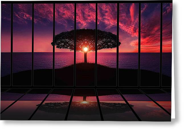 Panoramic Ocean Greeting Cards - Crimson And Blue Sunset Greeting Card by Oskar Espinosa