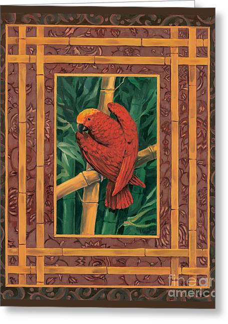 Crimson Greeting Cards - Crimson Parrot Greeting Card by Paul Brent
