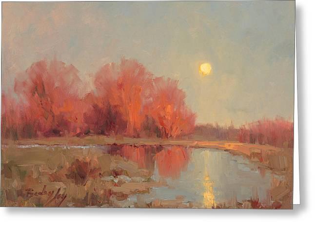 Moonrise Greeting Cards - Crimson Serenity Greeting Card by Becky Joy