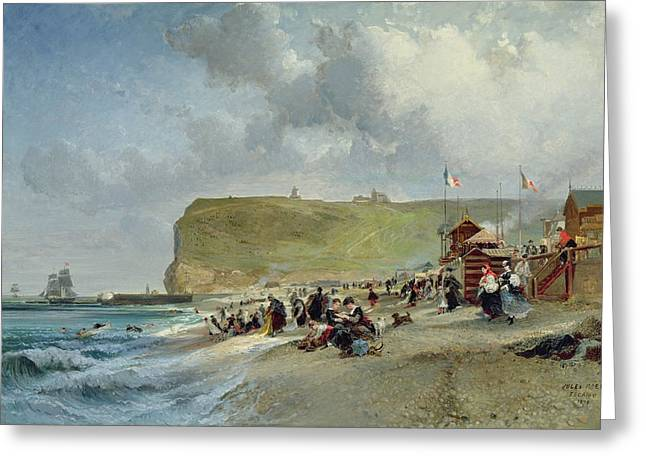 On The Beach Greeting Cards - Crinolines on the Beach at Fecamp Greeting Card by Jules Achille Noel