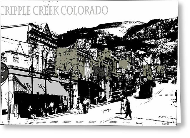 American Greeting Cards - Cripple Creek Colorado - Drawing Illustration Poster Greeting Card by Peter Fine Art Gallery  - Paintings Photos Digital Art