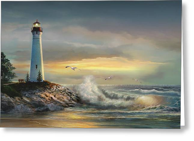 Sunset Scenes. Paintings Greeting Cards - Crisp point lighthouse at sunset  Greeting Card by Gina Femrite