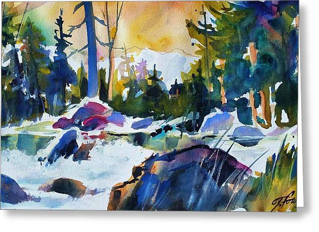 Therese Fowler-bailey Greeting Cards - Crisp Snowy Morn near Tahoe Greeting Card by Therese Fowler-Bailey
