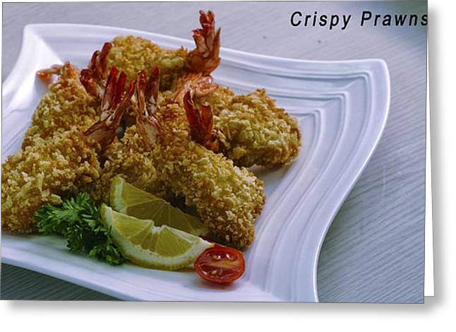 Prawns Greeting Cards - Crispy Prawns with Recipe Greeting Card by Charuhas Images