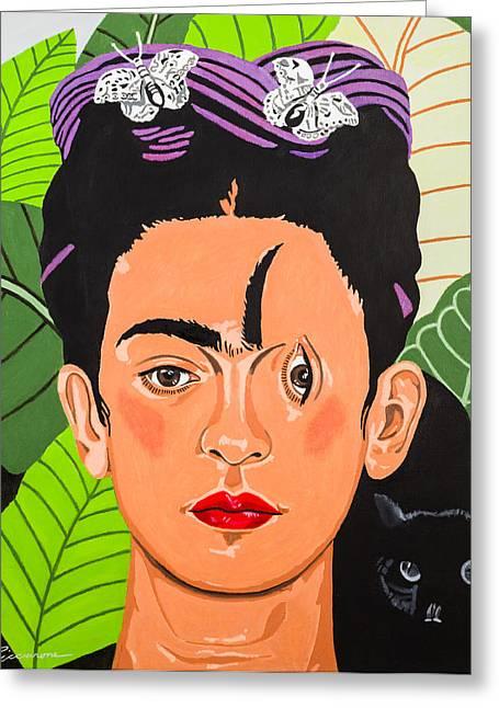 Unibrow Greeting Cards - Criss Cross Frida Greeting Card by Joe Ciccarone