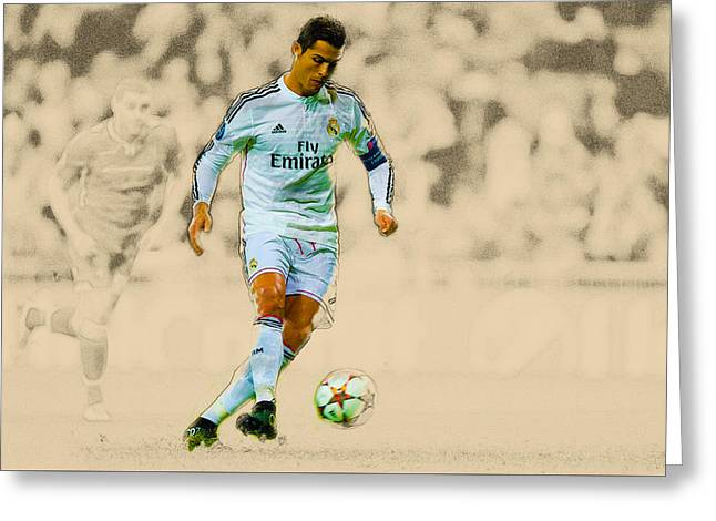 Football Collectibles Greeting Cards - Cristiano Ronaldo of Real Madrid CF scores their opening goal  Greeting Card by Don Kuing