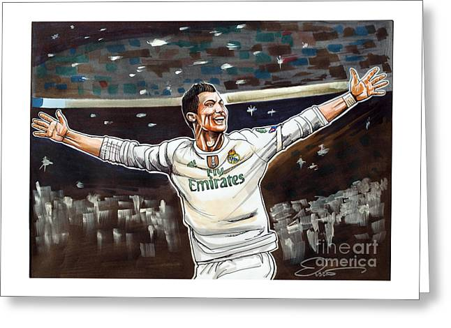 Cristiano Ronaldo Of Real Madrid Greeting Card by Dave Olsen
