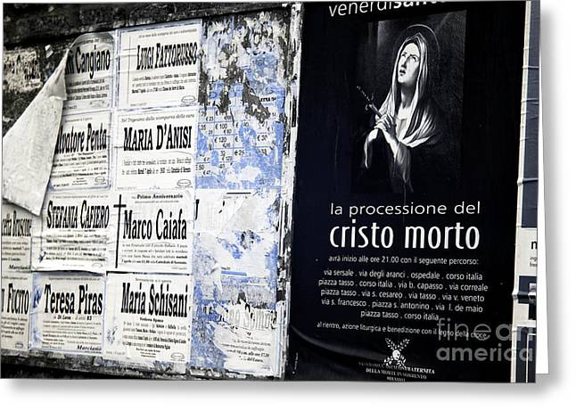 Cristo Greeting Cards - Cristo Morto Greeting Card by John Rizzuto