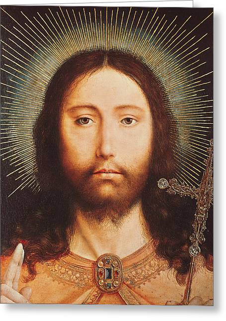 Cristo Greeting Cards - Cristo Salvator Mundi Greeting Card by Quentin Massys