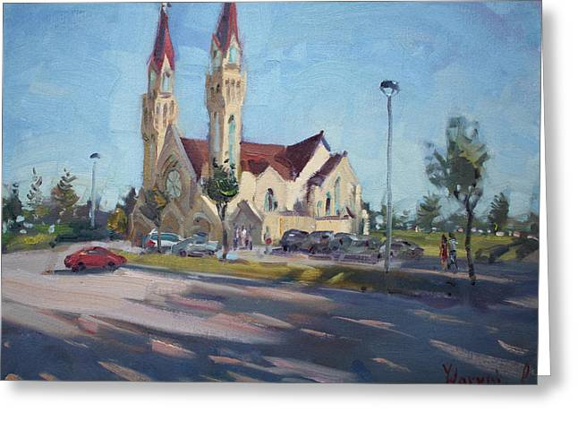 Croatian Centre-the Queen Of Peace Greeting Card by Ylli Haruni