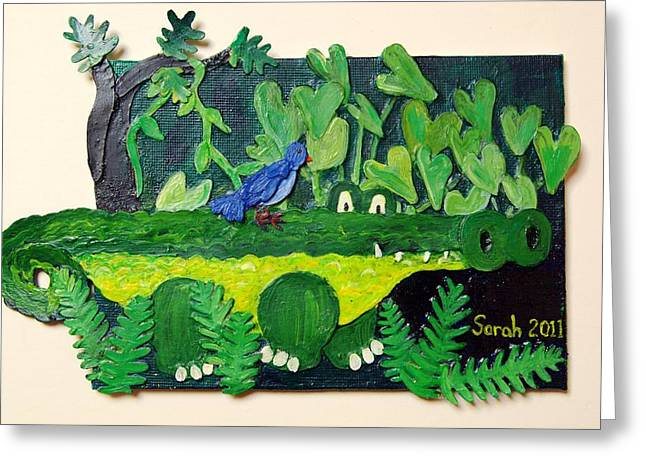 Calladiums Greeting Cards - Crocodile Amble Greeting Card by Sarah Swift