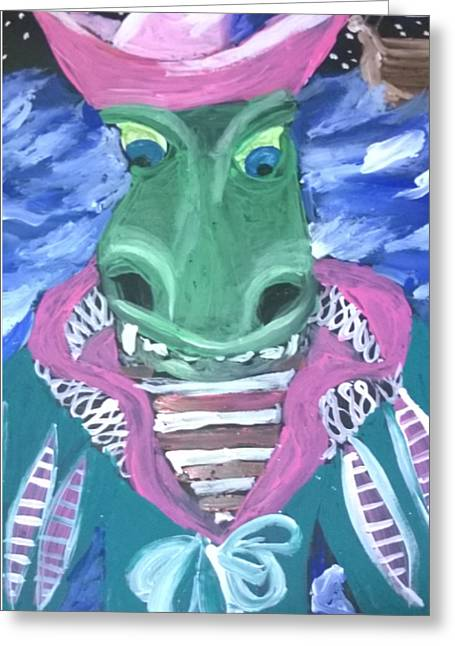 Pirate Ships Greeting Cards - Crocodile Pirate Greeting Card by Mary Ward