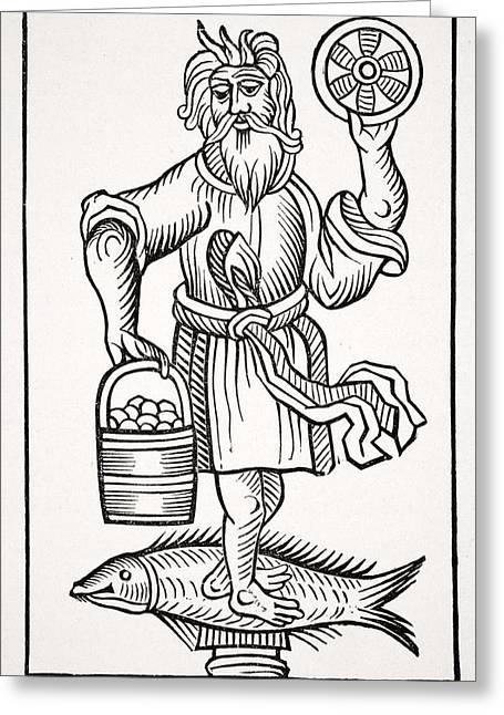Apparel Greeting Cards - Crodon. Ancient Saxon Idol, 19th Greeting Card by Ken Welsh