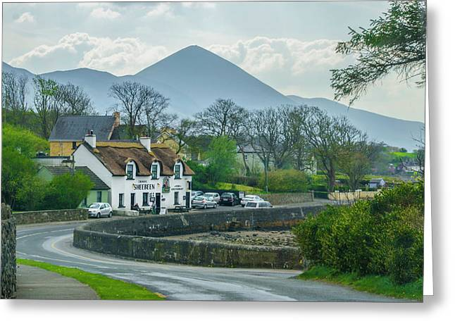 Cronins Sheebeen In The Shadow Of Croagh Patrick Mountain Greeting Card by Bill Cannon