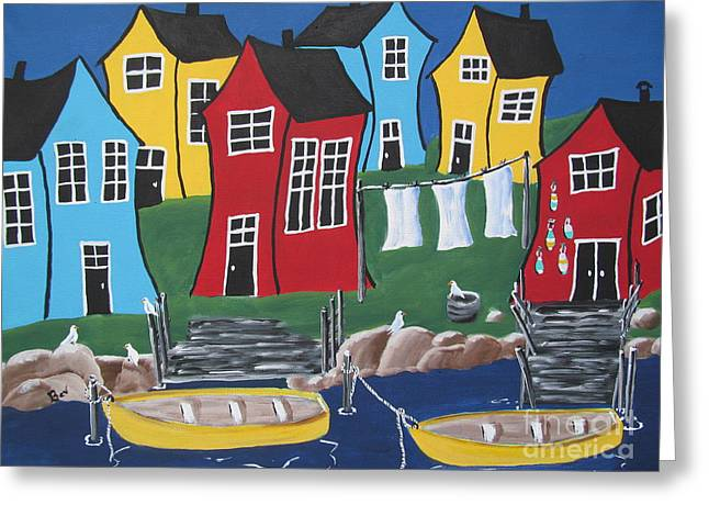 Crooked House Bay Greeting Card by Beverly Livingstone