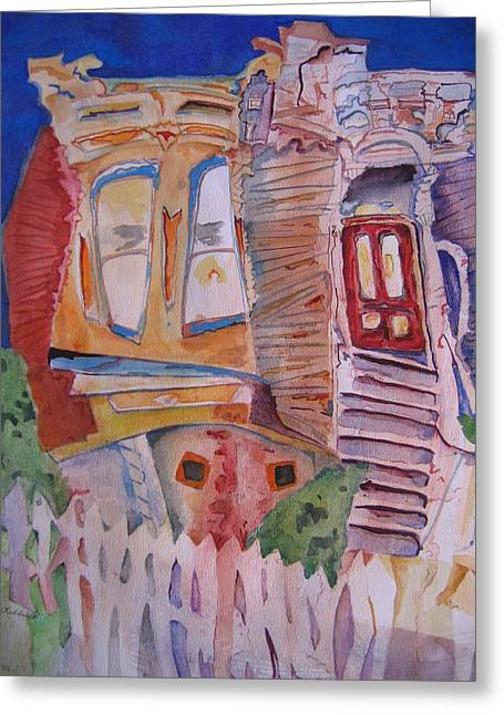 Crooked Fence Greeting Cards - Crooked house Greeting Card by Marlene Robbins