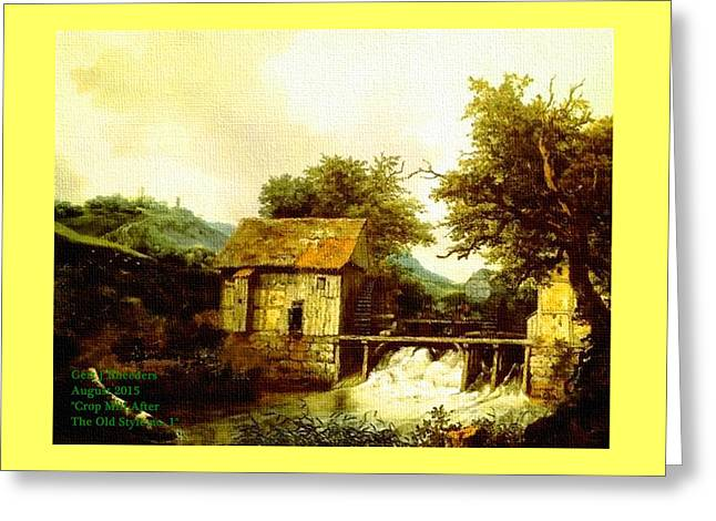 Abstract Digital Pastels Greeting Cards - Crop Mill After The Old Style. H A Greeting Card by Gert J Rheeders