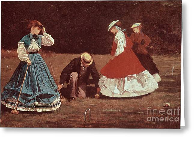 Pegs Greeting Cards - Croquet Scene Greeting Card by Winslow Homer