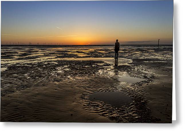 Ironman Greeting Cards - Crosby Beach Sunset Greeting Card by Paul Madden