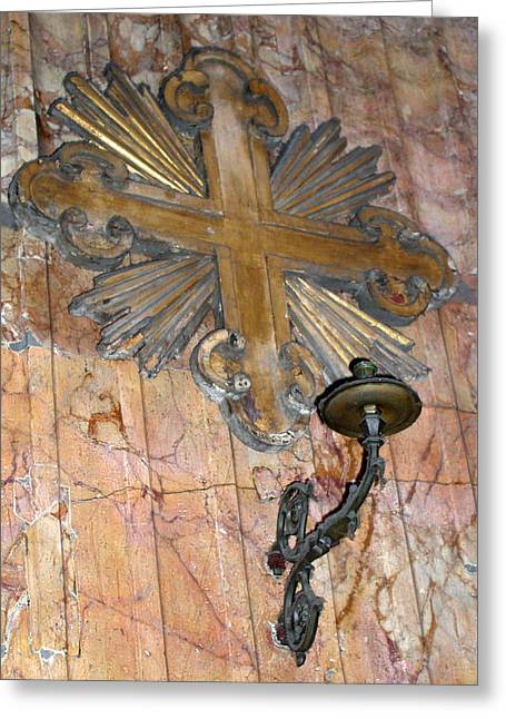 Candle Lit Greeting Cards - Cross and Sconce in the Pantheon Greeting Card by Jean Hall