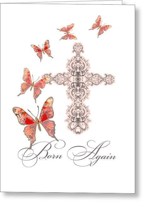 Cross Born Again Christian Inspirational Butterfly Butterflies Greeting Card by Audrey Jeanne Roberts