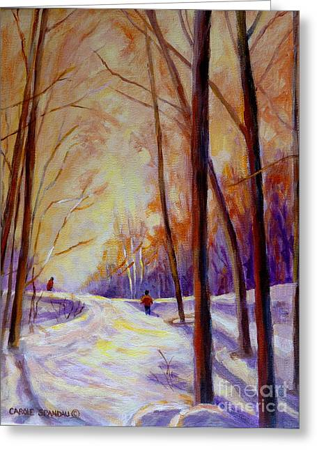 Cross Country Sking St. Agathe Quebec Greeting Card by Carole Spandau