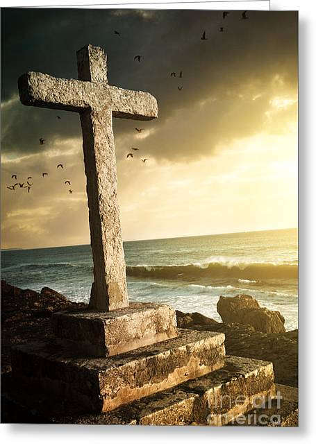 Cross In A Cliff Greeting Card by Carlos Caetano