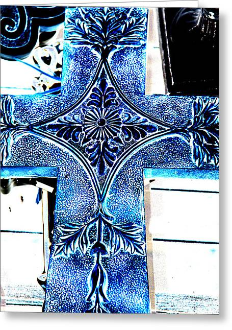Religious Symbol Greeting Cards - Cross in blue Greeting Card by Susanne Van Hulst