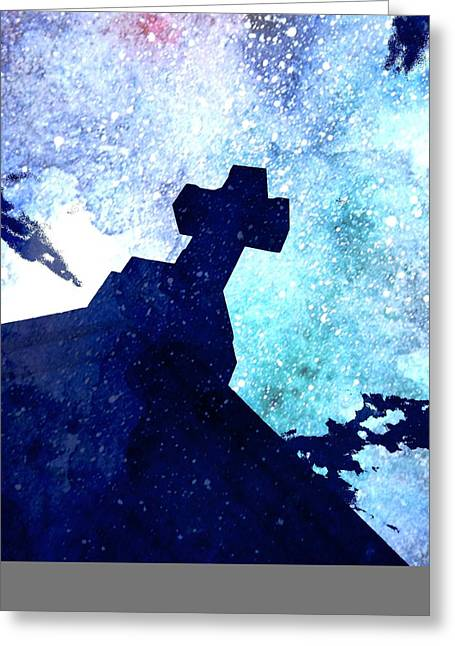 True Cross Greeting Cards - The kid behind the Cross Greeting Card by Mark J Dunn