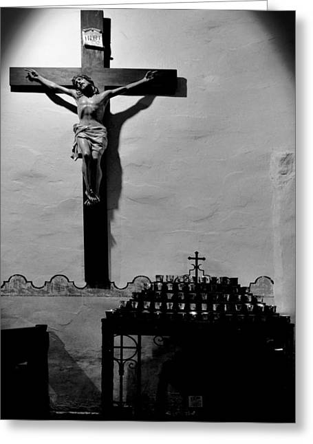 Candles Greeting Cards - Cross Mission San Diego de Alcala Greeting Card by Christine Till