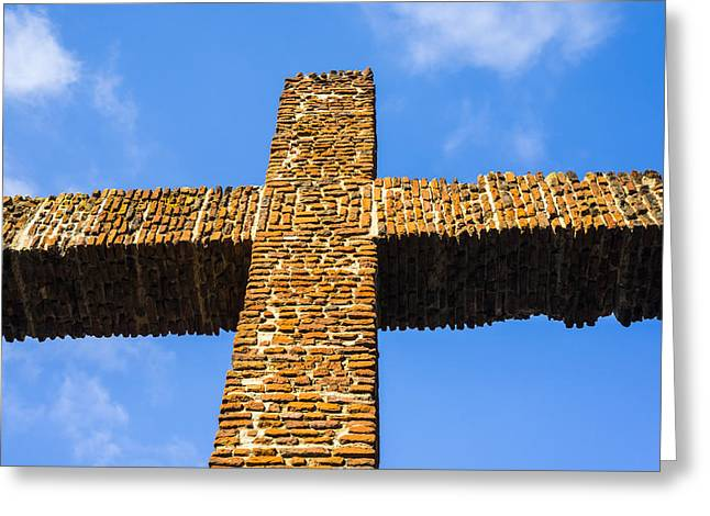 Religion Greeting Cards - Cross of Bricks Greeting Card by Joseph S Giacalone