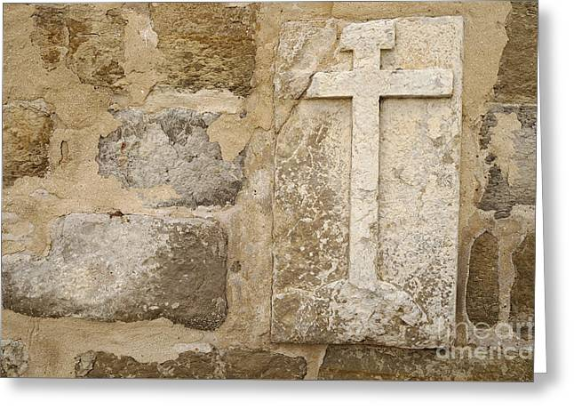 Medieval Temple Greeting Cards - Cross on Medieval Church Wall Greeting Card by Angelo DeVal