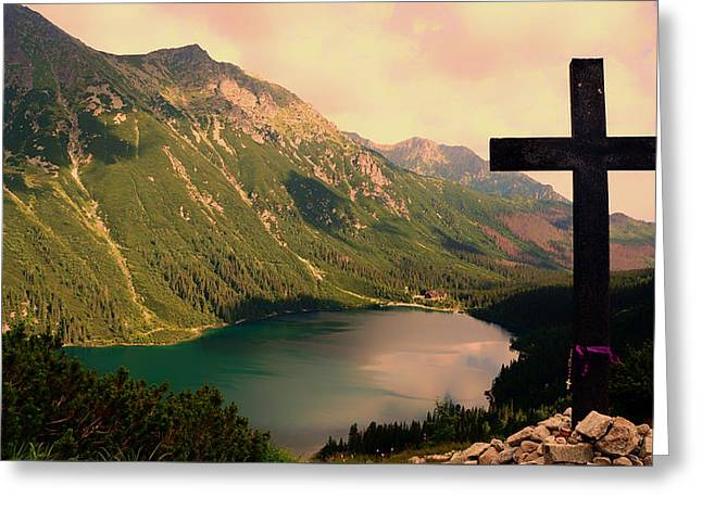Beautiful Scenery Greeting Cards - Cross Overlooking a Lake in the Tatra Mountains Greeting Card by Mika44