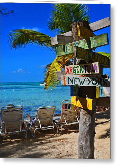 Lawn Chair Greeting Cards - Cross Roads-Cayman Greeting Card by Sydney Thompson