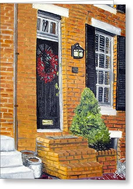 John Schuller Art Greeting Cards - Cross Street Early March Greeting Card by John Schuller