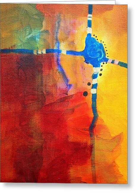 Cheat Greeting Cards - Crossed Abstract Cruciform Painting Greeting Card by Nancy Merkle