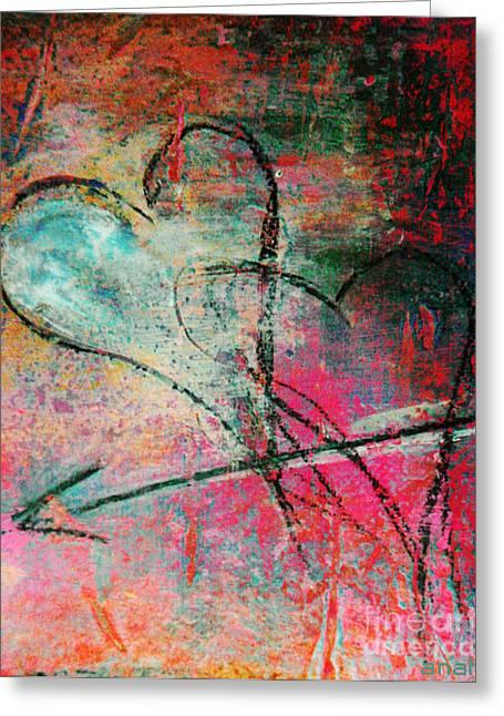 Anahi Decanio Mixed Media Greeting Cards - Crossed Hearts   Corazones Cruzados Greeting Card by Anahi DeCanio