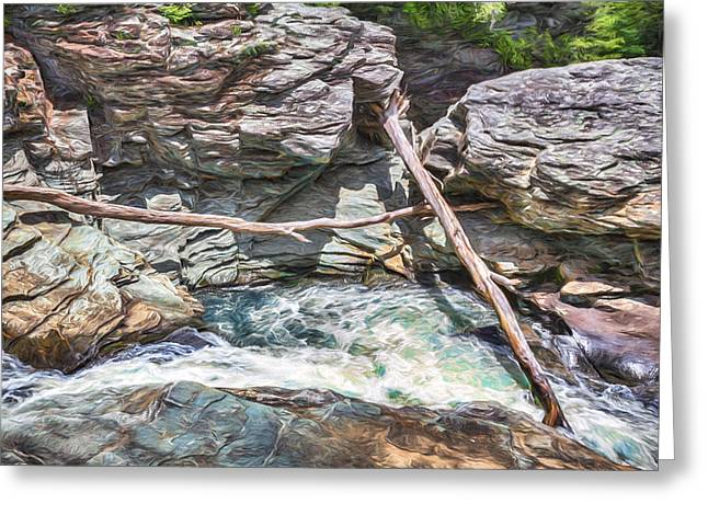 Falls Greeting Cards - Crossed Logs on the Linville River Greeting Card by John Haldane