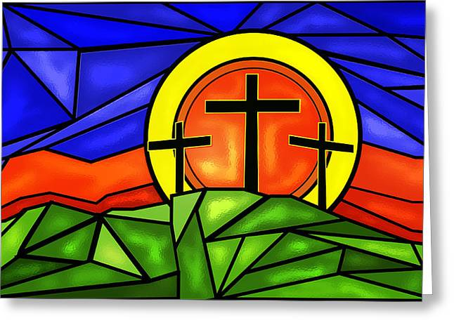 Crosses On A Hill  Greeting Card by John Bainter