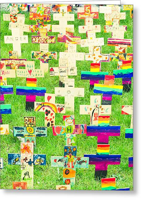 Childhood Art Greeting Cards - Crosses Greeting Card by Tom Gowanlock