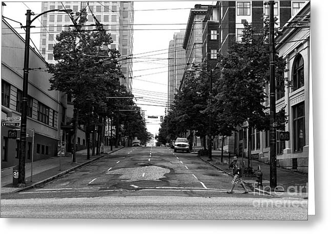 Crossing An Empty Street Mono Greeting Card by John Rizzuto