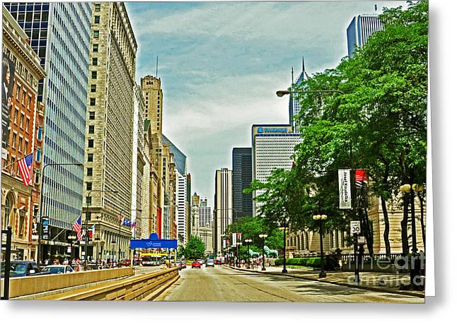Magnificent Mile Greeting Cards - Crossing Chicagos South Michigan Avenue Greeting Card by Lydia Holly