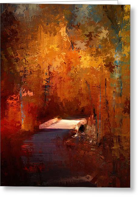 Autumn Scenes Greeting Cards - Crossing Into Autumn Greeting Card by Jai Johnson