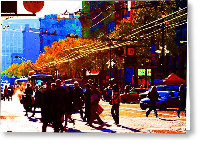 Crossing Market Street . Photo Artwork Greeting Card by Wingsdomain Art and Photography